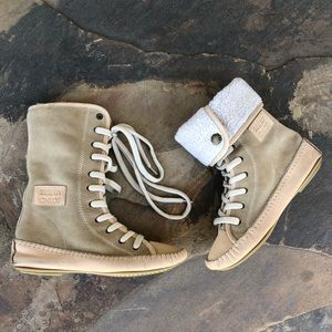 See by Chloe suede shearling-lined lace up boots
